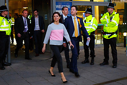 © Licensed to London News Pictures. 08/05/2015. SHEFFIELD, UK. Nick Clegg and wife Miriam Miriam González Durántez leaving English Institute of Sport in Sheffield on Friday, 8 May 2015. Nick Clegg has been re-elected to Sheffield Hallam but Liberal Democrats suffered great losses across the UK. Photo credit: Tolga Akmen/LNP