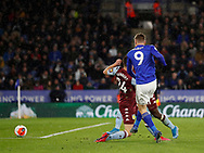 Jamie Vardy of Leicester City scores their third goal his second during the Premier League match at the King Power Stadium, Leicester. Picture date: 9th March 2020. Picture credit should read: Darren Staples/Sportimage