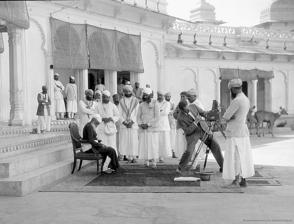 E.O.Hoppé preparing to photograph the Maharaja of Udaipur, India, 1929