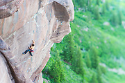 Jon Cardwell on a project, First Band, Redstein Crag, Redstone, Colorado