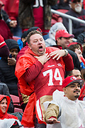 A San Francisco 49ers fan makes a choking expression as the San Francisco 49ers host the Seattle Seahawks at Levi's Stadium in Santa Clara, Calif., on November 26, 2017. (Stan Olszewski/Special to S.F. Examiner)