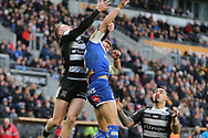 Hull FC winger Adam Swift (5) challenges for a high ball  during the Betfred Super League match between Hull FC and St Helens RFC at Kingston Communications Stadium, Hull, United Kingdom on 16 February 2020.