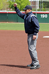 22 April 2017:  First base umpire Eric Manley calls an out during a Missouri Valley Conference (MVC) women's softball game between the Missouri State Bears and the Illinois State Redbirds on Marian Kneer Field in Normal IL