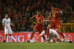 October 12, 2018 - Brussels, BELGIUM - Belgium's Youri Tielemans, Swiss Fabian Schar and Belgium's Axel Witsel fight for the ball during a soccer game between Belgian national team the Red Devils and Switzerland in Brussels, Friday 12 October 2018, the second game in group 2 of the UEFA Nations League A competition...BELGA PHOTO DIRK WAEM (Credit Image: © Dirk Waem/Belga via ZUMA Press)