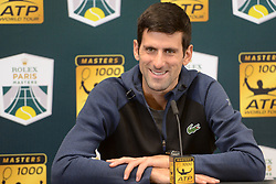 November 1, 2018 - Paris, France - NOVAK DJOKOVIC of Serbia talks with the media after his third round match in the Rolex Paris Masters tennis tournament in Paris France. (Credit Image: © Christopher Levy/ZUMA Wire)