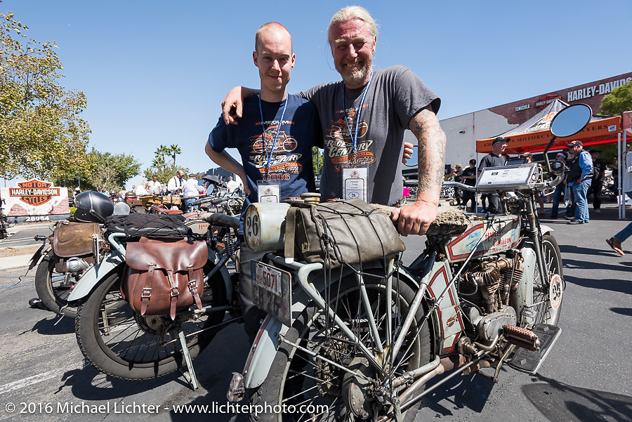 Thomas Trapp (R), owner of the Harley-Factory Frankfurt dealership in Germany with his 1916 Harley-Davidson and his son Eric Trapp with his 1916 Harley-Davidson twin at the Hosted lunch stop at Temecula Harley-Davidson on the last day of the Motorcycle Cannonball Race of the Century. Stage-15 ride from Palm Desert, CA to Carlsbad, CA. USA. Sunday September 25, 2016. Photography ©2016 Michael Lichter.
