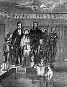 Mormons (Latter-Day-Saints). Baptism by total immersion, Salt Lake City, Utah. From 'Illustration' ( Paris 1853). Wood engraving.