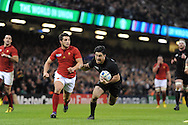 Nehe Milner-Skudder of New Zealand dives over and  scores his teams 2nd try. Rugby World Cup 2015 quarter-final match, New Zealand v France at the Millennium Stadium in Cardiff, South Wales  on Saturday 17th October 2015.<br /> pic by  Andrew Orchard, Andrew Orchard sports photography.