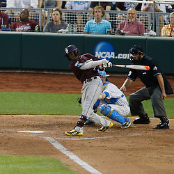Jun 25, 2013; Omaha, NE, USA; Mississippi State Bulldogs left fielder Demarcus Henderson (2) reaches on a fielder's choice during the fifth inning in game 2 of the College World Series finals against the UCLA Bruins at TD Ameritrade Park. Mandatory Credit: Derick E. Hingle-USA TODAY Sports