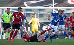 Rasmus Falk (FC København) forsøger at stoppe Gustav Marcussen (Lyngby Boldklub) under kampen i 3F Superligaen mellem Lyngby Boldklub og FC København den 1. juni 2020 på Lyngby Stadion (Foto: Claus Birch).