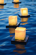 Three illuminated lanterns float silently in the waters of the Pacific Ocean.