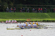 Amsterdam. NETHERLANDS.  GBR M4-,  Gold Medalist, Men's Four. Bow Alex GREGORY, Mo SBIHI, George NASH and Andrew TRIGGS HODGE,   De Bosbaan Rowing Course, venue for the 2014 FISA  World Rowing. Championships.  . 14:38:18  Saturday  30/08/2014  [Mandatory Credit; Peter Spurrier/Intersport-images]