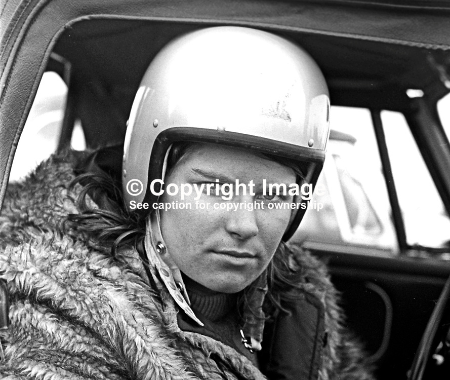 Teri Waithing, racing driver, N Ireland, September, 1967, 196709000143<br /> <br /> Copyright Image from Victor Patterson, 54 Dorchester Park, Belfast, UK, BT9 6RJ<br /> <br /> t: +44 28 9066 1296<br /> m: +44 7802 353836<br /> vm +44 20 8816 7153<br /> <br /> e1: victorpatterson@me.com<br /> e2: victorpatterson@gmail.com<br /> <br /> www.victorpatterson.com<br /> <br /> IMPORTANT: Please see my Terms and Conditions of Use at www.victorpatterson.com