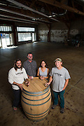 Co-owners Mike Willlaford, Dietrich Wahlstrand, Michele Willaford, and Grant Kjos, from left to right, pose for a portrait at Uproar Brewing Co. in San Jose, California, on September 2, 2015. (Stan Olszewski/SOSKIphoto)