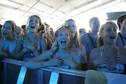 Fans with and gester with Ingrid Michaelson performs on the fourth day of the 2010 Bonnaroo Music & Arts Festival on June 13, 2010 in Manchester, Tennessee. The four-day music festival features a variety of musical acts, arts and comedians..Photo by Bryan Rinnert/3Sight Photography
