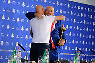 Thomas Bjorn (Team Europe Captain) hugs Media Director Steve Todd after the sunday singles at the Ryder Cup, Le Golf National, Paris, France. 30/09/2018.<br /> Picture Phil Inglis / Golffile.ie<br /> <br /> All photo usage must carry mandatory copyright credit (© Golffile | Phil Inglis)