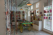 The Jugaad Trust shop, Champa Gali, New Delhi, India. The Jugaad Trust makes handmade ecofriendly fashion as part of income generation for youth & rural women associated with Karm Marg NGO. Champa Gali is the latest and most intimate of Delhis urban creative villages.
