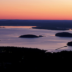 Acadia National Park, ME..Dawn over Frenchman Bay as seen from the summit of Cadillac Mountain.  Porcupine Islands.