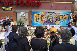 Rep. Ilhan Omar, along with members of the United States Congressional Black Caucus, visit the site of George Floyd's death, Thursday, June 4, 2020, in Minneapolis. Photo by Anthony Souffle/Minneapolis Star Tribune/TNS/ABACAPRESS.COM