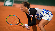 Barbora Strycova of the Czech Republic in action against Barbora Krejcikova of the Czech Republic during the second round at the Roland Garros 2020, Grand Slam tennis tournament, on September 30, 2020 at Roland Garros stadium in Paris, France - Photo Rob Prange / Spain ProSportsImages / DPPI / ProSportsImages / DPPI