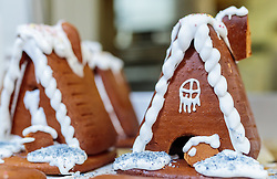 THEMENBILD - verzierte Lebkuchenhäuser für das kommende Weihnachtsfest in einer Bäckerei, aufgenommen am 21. November 2016, Kaprun, Österreich // Decorated gingerbread houses for the coming Christmas festival in a bakery, Kaprun, Austria on 2016/11/21. EXPA Pictures © 2016, PhotoCredit: EXPA/ JFK