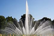 Fountains display in Park Planten un Blomen, Hamburg, Germany.