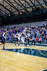 25 January 2014: 103rd McLean County Tournament.  Blue Ridge Knights v Ridgeview Mustangs Boys Championship Game at Shirk Center, Bloomington Illinois