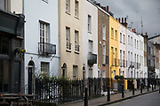 Colourfully painted homes in Brendon Street, Marylebone in London, England, United Kingdom.