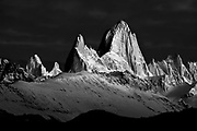 Black and white of Mt. Fitzroy at sunrise in Patagonia, Argentina
