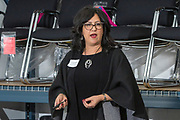 Loretta Peters of Competitive Edge Branding speaks at a networking event hosted by Transfer Enterprises of Manchester, CT.