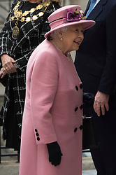 © Licensed to London News Pictures. 19/03/2019. London, UK. Queen Elizabeth II  visits King's College to open Bush House, the latest education and learning facilities on the Strand Campus. Photo credit: Ray Tang/LNP
