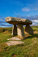 Lanyon Quoit is a megalithic burial dolmen from the Neolithic period, circa 4000 to 3000 BC, near Morvah on the Penwith peninsula, Cornwall, England '<br /> <br /> Visit our PREHISTORIC PLACES PHOTO COLLECTIONS for more  photos to download or buy as prints https://funkystock.photoshelter.com/gallery-collection/Prehistoric-Neolithic-Sites-Art-Artefacts-Pictures-Photos/C0000tfxw63zrUT4