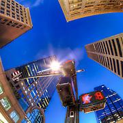 Downtown Kansas City fisheye lens photo at 11th and Main looking up, Saturday January 5, 2013.