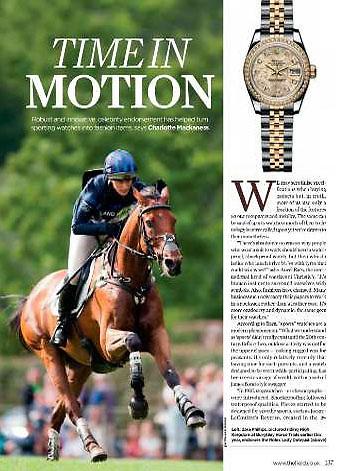 Advertorial feature for Rolex featuring brand ambassador Zara Phillips