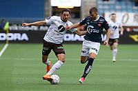 Fotball , 10. april 2018 , OBOS-Ligaen , Viking Stavanger - Mjøndalen.<br />Zlatko Tripic fra Viking og Mahmoud Eid fra Mjøndalen i aksjon i dag.<br />Foto: Andrew Halseid Budd , Digitalsport