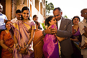 At a Hindu wedding ceremony the just married bride bids her emotional farewells to all her immediate family in which, on marriage she will now adopt her husband's caste as her own,  Neemrana Fort Palace, Rajasthan, India