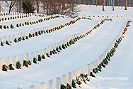 65095-02916 Wreaths on graves in winter Jefferson Barracks National Cemetery St. Louis,  MO