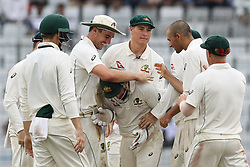 August 29, 2017 - Mirpur, Dhaka, Bangladesh - Australian cricketer celebretes after a dismassal of Bangladeshi player during the third day of the first Test cricket match between Bangladesh and Australia at the Sher-e-Bangla National Cricket Stadium in Dhaka on August 29, 2017. (Credit Image: © Ahmed Salahuddin/NurPhoto via ZUMA Press)