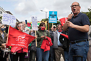 Steve Turner, candidate to become General Secretary of Unite, addresses Unite members protesting outside the Euston construction site for the HS2 high-speed rail link regarding trade union access to construction workers building tunnel sections for the project on 6th August 2021 in London, United Kingdom. Unite claims that HS2s joint venture contractor SCS, formed by Skanska, Costain and Strabag, has been hindering meaningful trade union access to HS2 construction workers in contravention of the HS2 agreement.