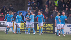 Forfar Athletic's John Baird  celebrates after scoring their third goal. Forfar Athletic 3 v 0 East Fife, Scottish Football League Division One game played 2/3/2019 at Forfar Athletic's home ground, Station Park, Forfar.