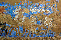 Ouzbékistan, Samarcande, classé Patrimoine Mondial de l'UNESCO, musée d'Afrasiab, fresque du VIIe siecle représentant le roi Sogdien recevant des dignitaires // Uzbekistan, Samarkand, Unesco World Heritage, Museum of Afrasiab, fresco of 7th century of Sogdian King, reception of dignitary people