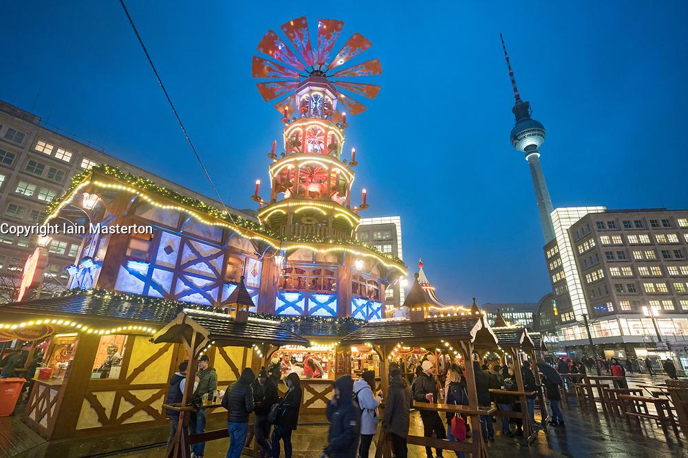 Christmas Market in Alexanderplatz, Berlin, Germany, Opening night November 2017. attack in the city.