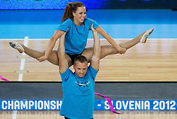 Dance group VIP perform during basketball match between National teams of Lithuania and France in final match of U20 Men European Championship Slovenia 2012, on July 22, 2012 in SRC Stozice, Ljubljana, Slovenia. Lithuania defeated France 50-49 and became European Champion 2012. (Photo by Vid Ponikvar / Sportida.com)