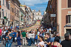 June 18, 2017 - Genzano In Rome, Italy, Italy - Again this year, from 17 to 19 June, the traditional 'Infiorata' was repeated in the small town of the Roman castles, which dates back to 1778. The religious, historical and folkloric event extends over an area of about 2000 square meters, covered with thousands of flower petals used to make designs that change every year. It is held in the recurrence of the Corpus Domini, on which after the Eucharistic celebration there is a procession presided by the Bishop, on the streets of the town and on the site of the Infiorata presided by the Bishop and the participation of local civilian and military authorities. (Credit Image: © Leoclaudiodepetris/Pacific Press via ZUMA Wire)