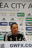 Swansea City player Jonathan de Guzman speaking at a press conference at the Liberty stadium today (17/10/2013) ahead of their match with Sunderland at the weekend. pic by Phil Rees , Andrew Orchard sports photography,