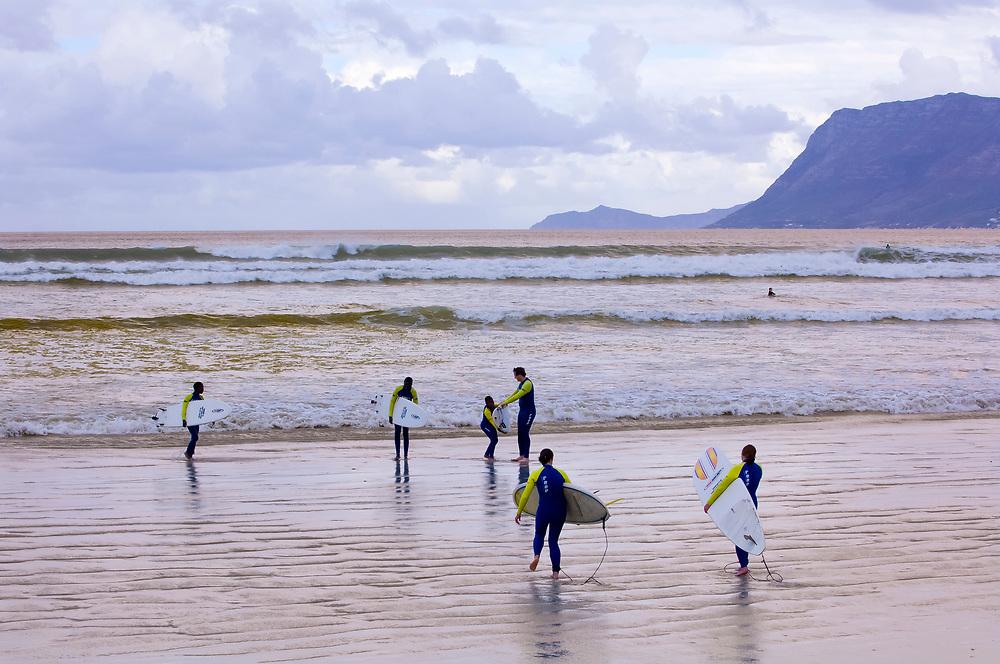 Surfers, Muizenberg Beach, False Bay (near Cape Town), South Africa