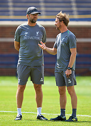 ANN ARBOR, USA - Friday, July 27, 2018: Liverpool's manager Jürgen Klopp and head of fitness and conditioning Andreas Kornmayer during a training session ahead of the preseason International Champions Cup match between Manchester United FC and Liverpool FC at the Michigan Stadium. (Pic by David Rawcliffe/Propaganda)