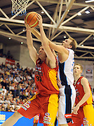 Rick Rickert (NZ) over S Hoare (Mel)<br /> New Zealand Breakers vs Melbourne Tigers<br /> Basketball- NBL Semi Finals Game 1<br /> Melbourne / Weds 25 Feb 2009<br /> © Sport the library / Jeff Crow