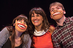 "© Licensed to London News Pictures. 29/02/2016. London, UK. Nina Conti (centre). Photocall with comedian and ventriloquist Nina Conti for her show ""In Your Face"" at the Criterion Theatre. Performances from 25 February to 12 March 2016. Photo credit: Bettina Strenske/LNP"