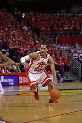 """31 January 2009: Lloyd Phillips hustles around the top of the key. The Illinois State University Redbirds join the Bradley Braves in a tie for 2nd place in """"The Valley"""" with a 69-65 win on Doug Collins Court inside Redbird Arena on the campus of Illinois State University in Normal Illinois"""
